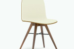 Seed Chair in Walnut and Creme Leather Upholstery