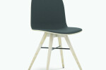 Seed Chair in Ash and Black Leather Upholstery