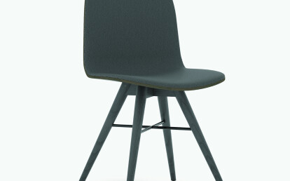 Seed Chair in Black Coloured Ash and Black Leather Upholtery