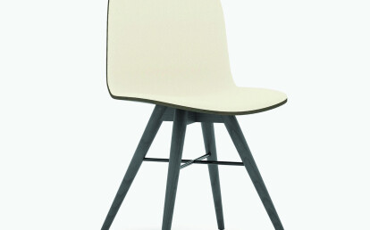 Seed Chair in Black Coloured Ash and Creme Leather Upholtery