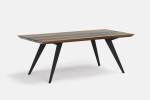 Roly-Poly table in Walnut and Black Metal Legs