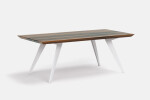 Roly-Poly table in Walnut and White Metal Legs