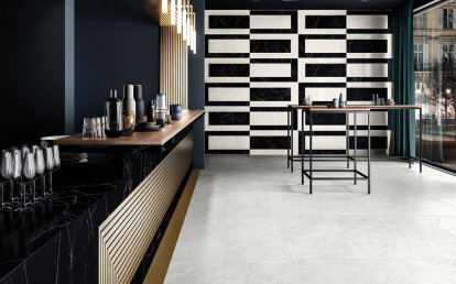 Ceramiche Piemme - Majestic - Floor Apuanian White 60X120cm - Wall Royal Nero 60X120cm - Abbey Road 60X120cm