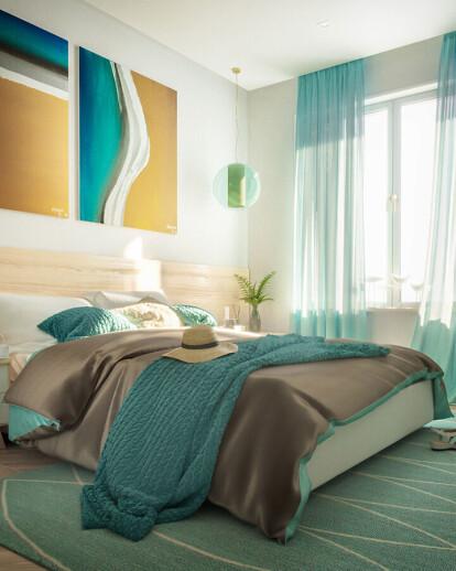 Turquoise bedroom interior design