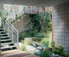 Sunken Atrium & Rain Bench - The sunken atrium is designed to breathe air and light into the project, and add lush native planting to the development.