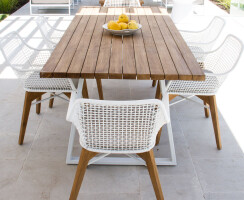Maxum Outdoor Chairs and Vela Outdoor Table