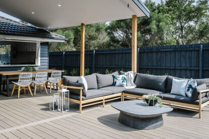 Alp Outdoor Modular Sofa and Norfolk Plinth Coffee Table
