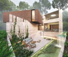 Living spaces overlooking the pool