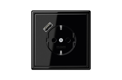 USB-A SCHUKO-Socket LS 990 black with Quick Charge