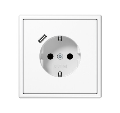 USB-C SCHUKO-Socket LS 990 white with Quick Charge