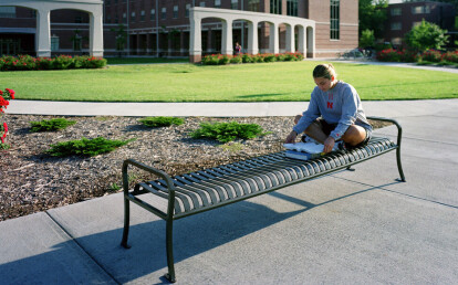 CV1-2000 Bronze CityView Eight ft. Backless Bench with Steel Bar Ends