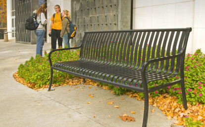 CV1-1000 Matte Black CityView Backed Bench with Steel Bar Ends
