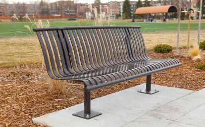 CV1-1020 Bronze CityView Backed Bench with Surface Mount Pedestal Legs