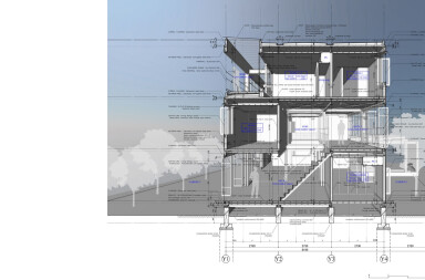 Corrugated-Sheet House section rendering