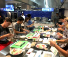 Duke students in Test Kitchen, West Campus Union building