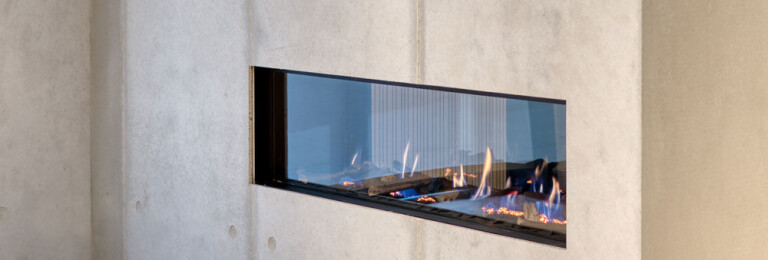 dade design – concrete meets fire. Fireplace with dade PANEL