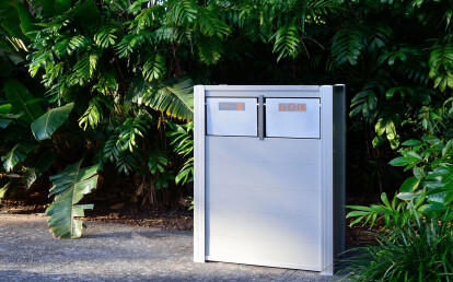 Oahu Recycled Plastic Lumber Modern Combination Trash and Recycling Receptacle