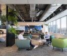 Informal lounge areas for work or relaxation feature soothing green tones and lush planting elements