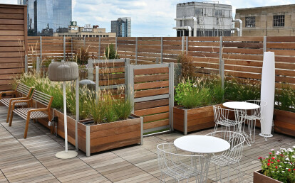 Mariner Commercial Planter Anchored Screen Wall Roof Deck Enclosure