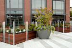 Custom Commercial Restaurant Planter with Glass Screen Wall
