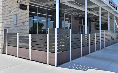 Custom Recycled Plastic Lumber Restaurant Planters with Aluminum Screen Wall