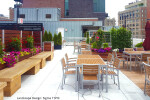 Custom Mariner Multi'Section Commercial Restaurant Planter with Wood Screen Wall and Recycling Receptacle