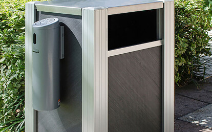 Custom Commercial Hotel Trash Receptacle with Smokers Outpost Option