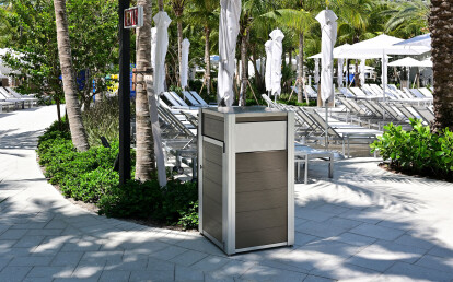 Oahu Recycled Plastic Lumber Modern Trash or Recycling Receptacle