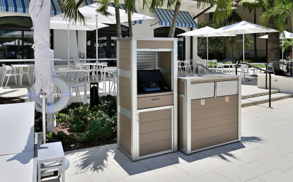 Oahu Combination Trash and Recycling Receptacle and Weatherproof  lockable POS  Kiosk Cabinet