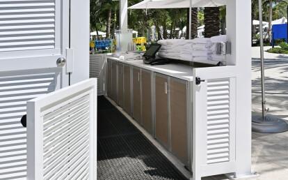 Custom Weatherproof Resort Waterpark Pool Kiosk Desk with Locking Computer Cabinets