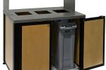 Audubon Modern Triple Bin Trash Receptacle with 316-Stainless Steel Lid and Food Tray Return Shelf