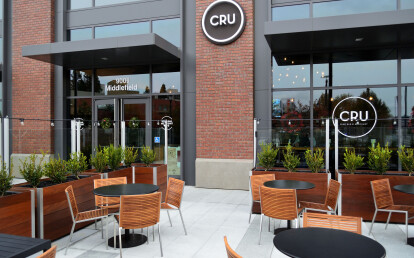 Custom Commercial Wood Restaurant Planters with Integrated glass Screen Wall