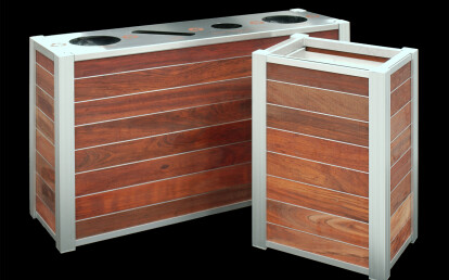 Modern Wood Commercial Trash and Triple Combination Trash and Recycling Receptacle and matching Food Tray Cart