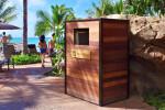 Custom Wood Resort Beach Towel Return Cart Cabinet