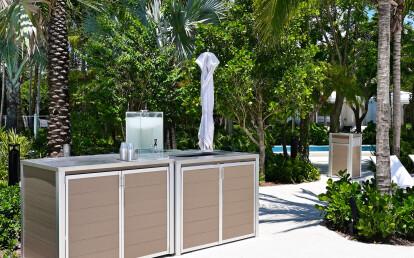 Custom Pool Cabinet for Fresh Pool Towels and Return Towel Cart