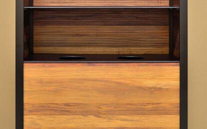 Custom Wood Cabinet with Spa Towel Shelf and Return Bins