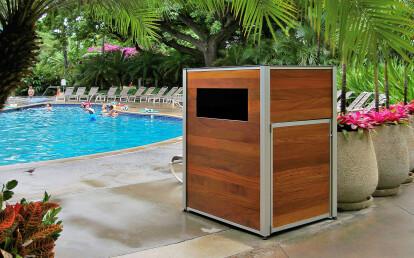 Custom Wood Resort Pool Towel Return Cart Cabinet