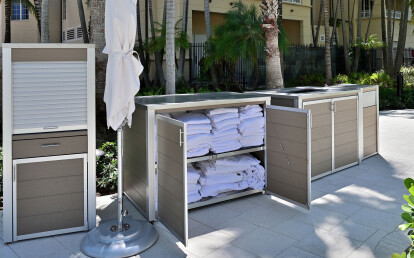 Custom Pool Fixture Suite with Cabinet for Fresh Pool Towels