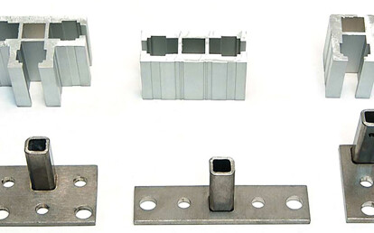 """5  trademark Audubon primary heavy 1/4"""" wall structural extrusions shown with minimal stainless steel mounting pads"""