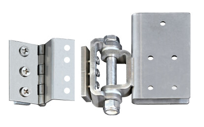 Custom stainless steel hinges slide into the panel acceptance slot to hold small doors or extra large gates