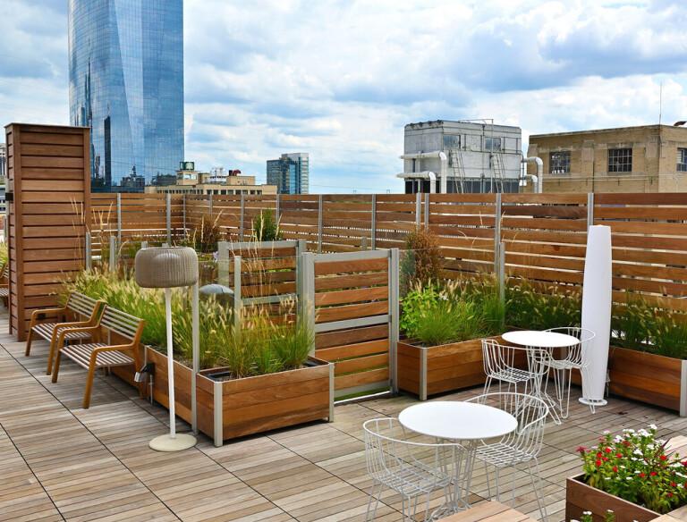 Mariner Commercial Planter Anchored Roof Deck Modular Screen Wall Dog Park Enclosure