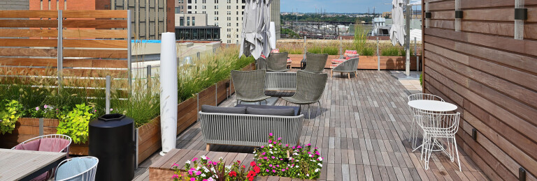 Mariner Commercial Planter Anchored Roof Deck Glass and Wood Parapet Screen Wall