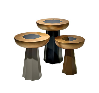 Set of Three Tables in Gold
