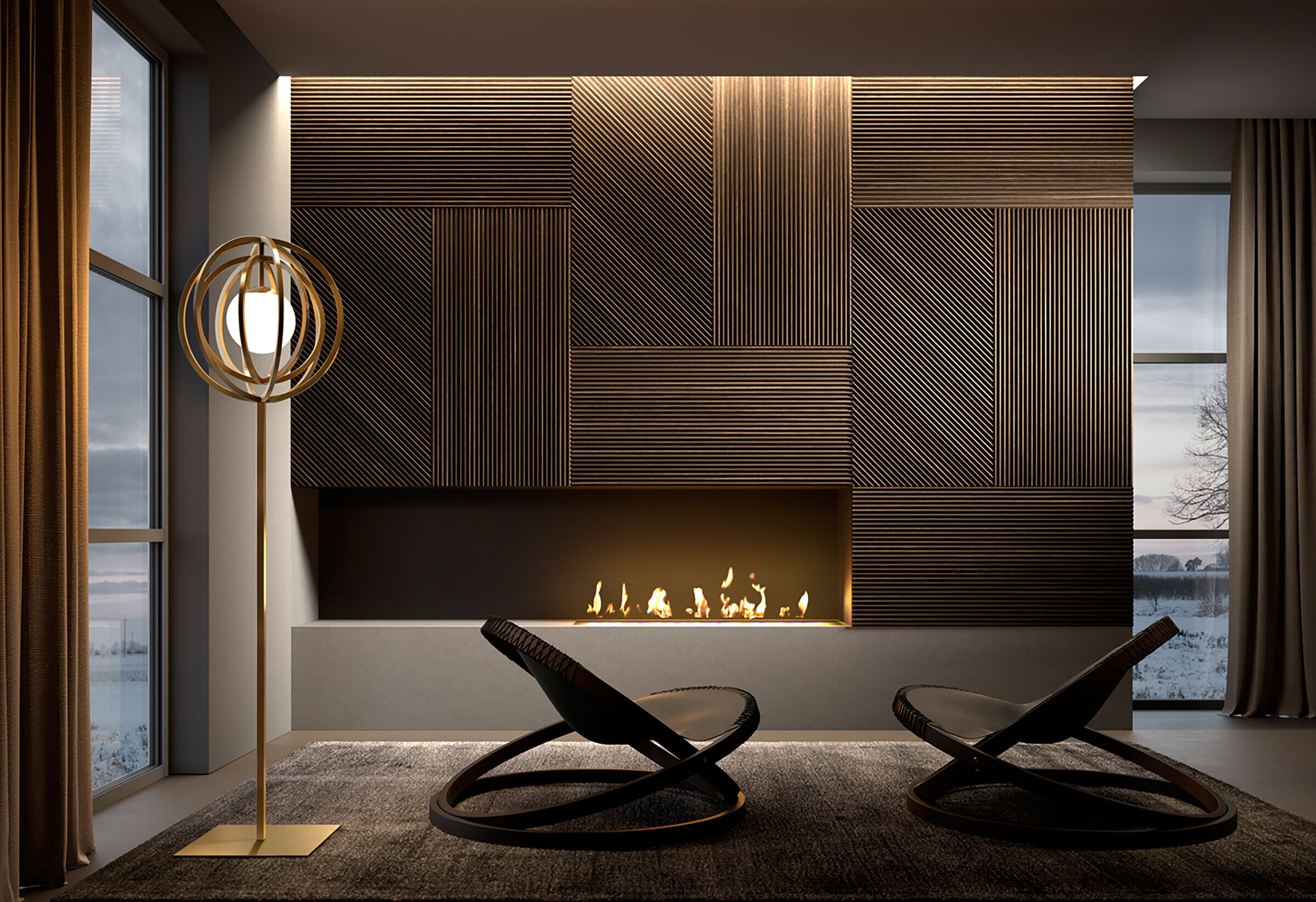 Fireplace - Fire Rated - Geometric Design
