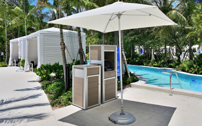 Weatherproof Point of Sale Terminal Cabinet and Oahu Trash or Recycling Bin