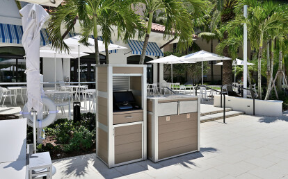Weatherproof Point of Sale Terminal Cabinet and Oahu Combination  Trash and Recycling Bin
