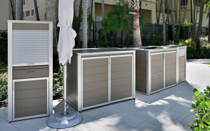 Weatherproof Pool Towel Issue and Return Enclosure and Pool Towel Cabinet