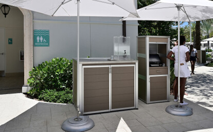 Weatherproof Pool Towel and Point-of-Sale Cabinet