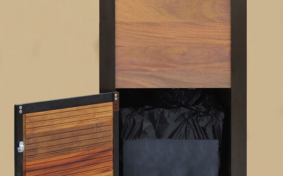 Tropical Hardwood Towel Issue and Return Cabinet