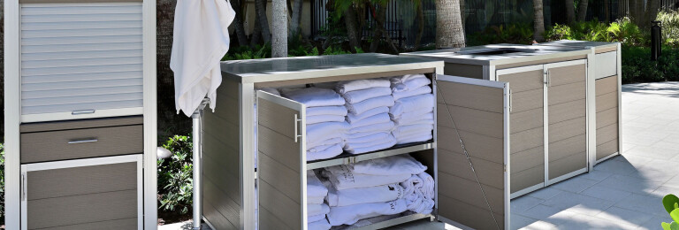 Weatherproof POS and Pool Towel Cabinet, Towel Return Cart Enclosure and Modern Trash or Recycling Receptacle